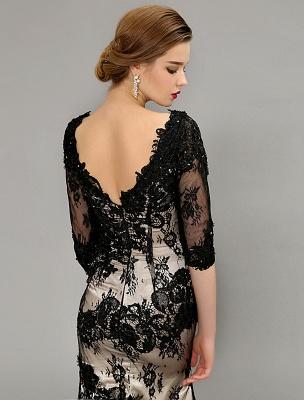 Black Wedding Dress Lace Mermaid V-Neck Dress With 3/4 Sleeves_6