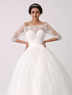 Off The Shoulder Princess Lace Wedding Dress With Illusion Neckline Exclusive_5