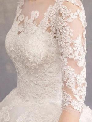 Robes de mariée Eric White Jewel Neck Half-Manches Soft Tulle Lace Up Floor Length Robes de mariée_7