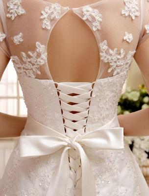 Kurze Brautkleider Elfenbein Spitze Applique Vintage Brautkleid Illusion Schatz Offener Rücken Tee Länge Brautkleider Exklusiv_9