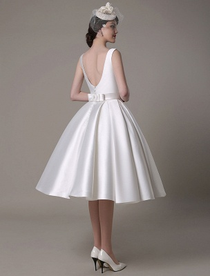Ivory Wedding Dress Scoop Backless Knee Length Satin Wedding Gown Exclusive_10