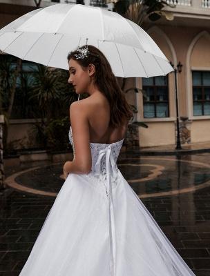 Customize Wedding Dress A-Line Sweetheart Neck Sleeveless Natural Waist With Train Bridal Dresses_5