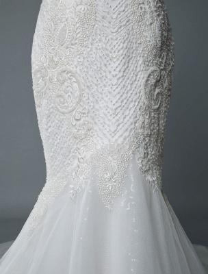 Einfache Brautkleider Spitze V-Ausschnitt Ärmellose Spitze Meerjungfrau Brautkleider mit Zug With_8