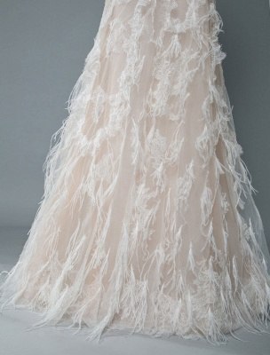 Simple Wedding Dress Lace A Line V Neck Sleeveless Beaded Floor Length Feather Bridal Gowns_7