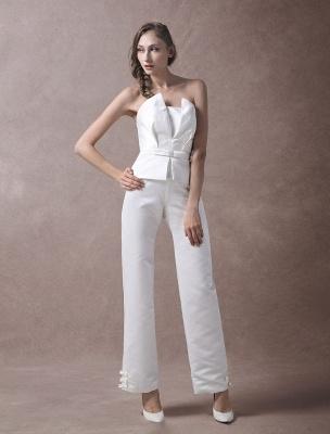 Wedding Jumpsuits Ivory Strapless Peplum Satin Bow Sash Long Bridal Jumpsuits Exclusive_3
