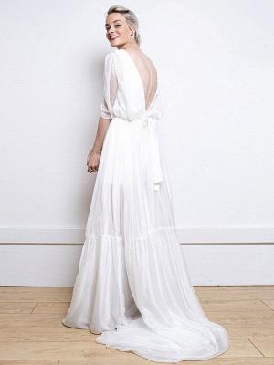 Weißes einfaches Hochzeitskleid A-Linie V-Ausschnitt Halbarm Rückenfrei Tüll Satin Stoff Lange Brautkleider_9