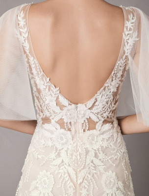 Boho Wedding Dresses Tulle Lace V Neck Butterfly Sleeve Backless Summer Beach Bridal Gowns_11