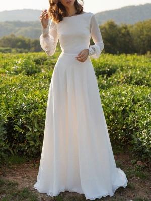 Simple Wedding Dress Lycra Spandex Bateau Neck Long Sleeves Lace A Line Bridal Gowns_4