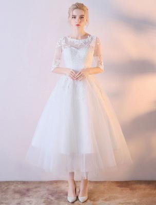 Kurze Brautkleider Weiß Halbarm Spitze Applique Tee Länge Brautkleid_1