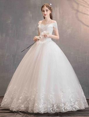 Tüll Brautkleider Prinzessin Brautkleid Schulterfrei Spitze Applique Bodenlangen Ballkleid Brautkleid_2