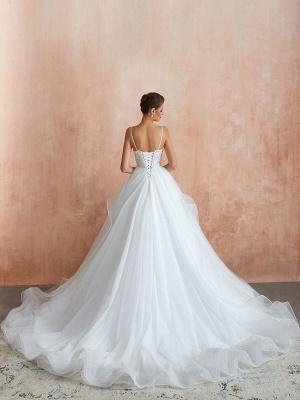Ballkleid Brautkleid 2021 Prinzessin Träger Hals Ärmellos Natürliche Taille Besetzte Tüll Brautkleider Mit Zug_6