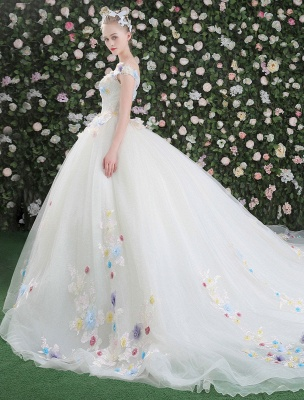 Flowers Quinceanera Dresses White Luxury Off The Shoulder Rhinestones Beading Short Sleeve Women'S Pageant Dresses With Train_5