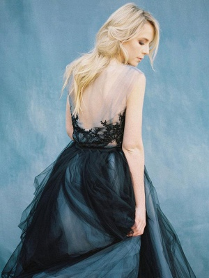 Black Gothic Wedding Dresses A-Line V-Neck Sleeveless Ball Gown Tulle Lace Bridal Gown_7