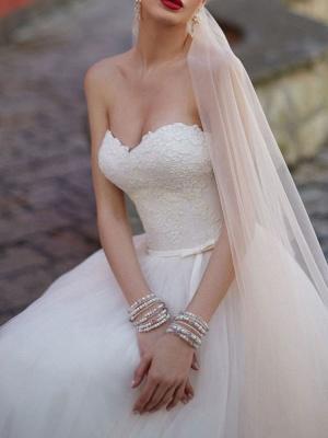 Robe de mariée Sweetheart Neck Longueur au sol sans manches Robes de mariée en dentelle avec train_4