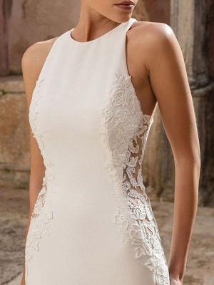 Simple Wedding Dress Lycra Spandex Jewel Neck Sleeveless Lace Mermaid Bridal Dresses_3
