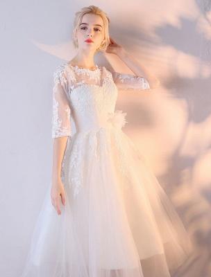 Kurze Brautkleider Weiß Halbarm Spitze Applique Tee Länge Brautkleid_5
