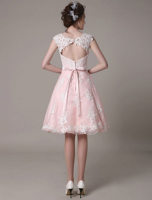 Lace Wedding Dress Cut Out Knee Length A-Line Bridal Dress With Satin Bow Exclusive_7