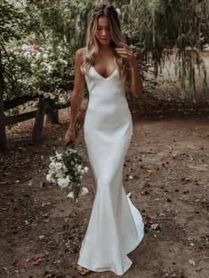 White Simple Wedding Dress Mermaid V-Neck Sleeveless Criss-Cross Spaghetti Straps Lace-Up Backless Satin Fabric Long Bridal Dresses_2