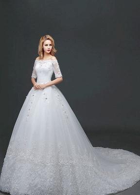 Vestido de novia de princesa fuera del hombro Vestido de novia con cuentas de encaje Vestido de novia de media manga blanco Vestido de novia con tren de la catedral_3