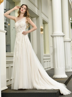 Bridal Dress 2021 One Shoulder Sleeveless Buttons Bridal Dresses With Train_5