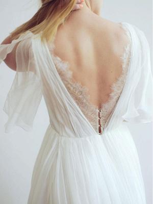 Simple Wedding Dress V Neck Half Sleeves Pleated A Line Floor Length Bridal Dresses_7