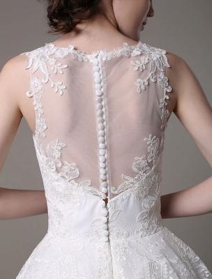 2021 Lace High-Low Brautkleid mit Llusion-Ausschnitt und Rücken exklusiv_10
