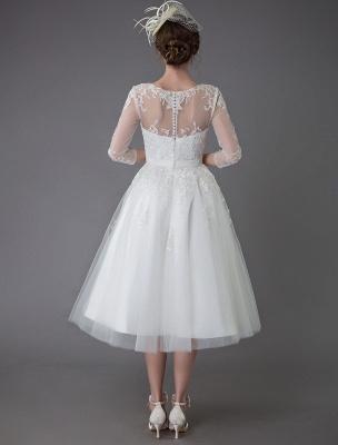 Vintage Wedding Dresses Tulle Bateau 3/4 Length Sleeve A Line Bridal Gown Short Bridal Dress Exclusive_8