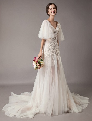Boho Wedding Dresses Tulle Lace V Neck Butterfly Sleeve Backless Summer Beach Bridal Gowns_3