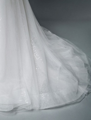 Einfache Brautkleider Spitze V-Ausschnitt Ärmellose Spitze Meerjungfrau Brautkleider mit Zug With_10
