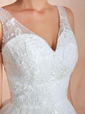 Wedding Dress 2021 A Line V Neck Sleeveless Floor Length Bridal Gowns With Train_9