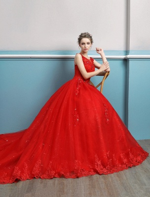 Red Wedding Dresses Lace Applique Beaded Princess Ball Gowns Train Bridal Dress_4