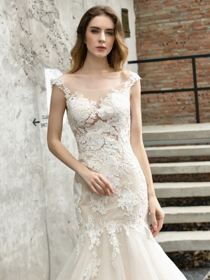 Wedding Dress Jewel Neck Sleeveless Natural Waist Lace Bridal Mermaid Dress With Train_7