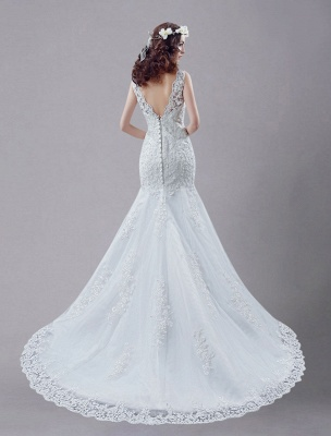 White Wedding Dress Lace Backless Bridal Dresses Rhinestones Beaded Mermaid Wedding Gown_4