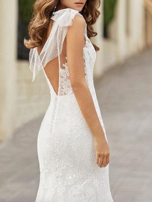 Brautkleid mit Zug Meerjungfrau Kleid Ärmellos Spitze V-Ausschnitt Lange Brautkleider_3