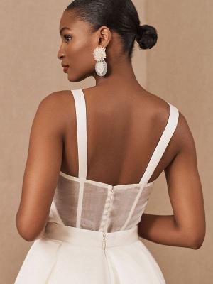 White Vintage Wedding Dresses Strapless Sleeveless Natural Waist Satin Fabric Floor-Length Bridal Gowns_4