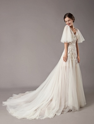 Boho Wedding Dresses Tulle Lace V Neck Butterfly Sleeve Backless Summer Beach Bridal Gowns_7