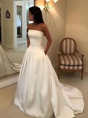 Vintage Brautkleider 2021 Satin Strapless A-Linie bodenlangen klassischen Brautkleid mit Zug_3