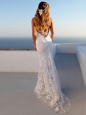 Sexy Mermaid Wedding Dress White V-Neck Backless Lace Bridal Dresses_3