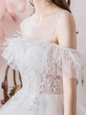 Wedding Dress Princess Silhouette Jewel Neck Short Sleeves Natural Waist Cathedral Train Bridal Dresses_7