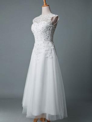 Vestido de novia vintage Hasta el té Cuello joya Sin mangas Una línea Cintura natural Tul Vestido de novia corto Exclusivo_2
