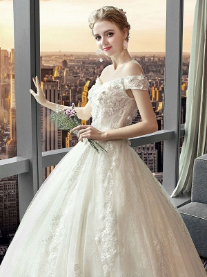 Spitze Brautkleider Prinzessin Ballkleid Brautkleid Schulterfrei Elfenbein Blumen Applique Bodenlangen Brautkleid_6