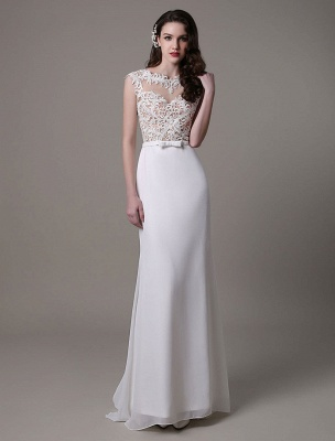Vintage Wedding Dress Lace And Chiffon Sheath With Stunning Bateau Illusion Neckline And Illusion Back Exclusive_4