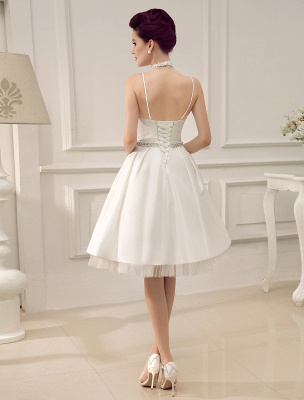 Vintage Spaghetti Straps Backless Satin Short Wedding Dress With Pearls At Waist Exclusive_4