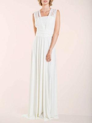 Einfache Brautkleider Mantel V-Ausschnitt Ärmellos Plissee Bodenlangen Mit Zug Spitze Brautkleider_4