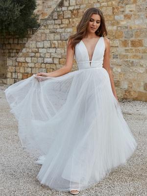 Weißes schlichtes Brautkleid A-Linie V-Ausschnitt Ärmellos Bodenlang Plissee Tüll Brautkleider_4