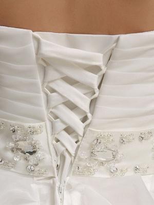 Brautkleider Prinzessin Ballkleider Trägerlos Schatz-Ausschnitt Plissee Rüschen Perlen Schärpe Tüll Elfenbein Brautkleid mit Zug_7