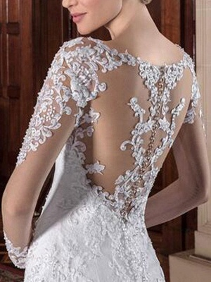 Brautkleider Jewel Neck Long Sleeves Natural Waist Lace Hofzug Brautkleider_2