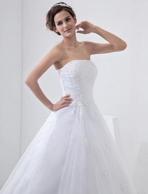 Robes de mariée blanches sans bretelles robe de mariée dentelle perles côté robe de mariée drapée avec train_5