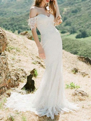 Simple Wedding Dresses 2021 Lace Sweetheart Off The Shoulder Mermaid Bridal Gown With Train For Boho Wedding_3