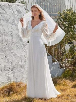 White Simple Wedding Dress A-Line V-Neck Long Sleeves Natural Waist Chiffon Long Bridal Dresses_2